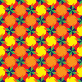 Trendy decorative seamless pattern with blue, green and orange pinwheel elements on colorful grid Stock Photos