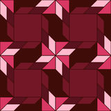 Trendy decorative seamless pattern with different geometrical shapes of amaranth, burgundy and pink shades Stock Photography