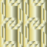 Trendy decorative seamless pattern with different geometrical shapes of golden and silver metallic gradient Stock Images
