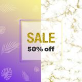 Trendy design with exotic tropical jungle tree on the colorful gradient , marble texture, gold frame and space for text. Template stock illustration
