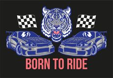 Sport cars with tiger print vector illustration