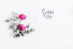 Trendy design with flower on white background top view mock up Stock Photography