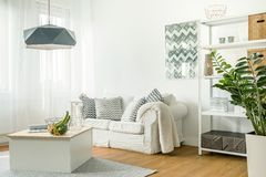 Trendy details in living room Stock Images