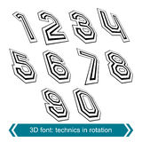 Trendy dimensional shift numbers with rotation effect, creative Royalty Free Stock Image