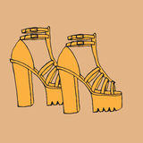 Trendy doodle high tick heel shoes with platform Royalty Free Stock Photography