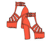 Trendy doodle high tick heel shoes with platform Royalty Free Stock Photos