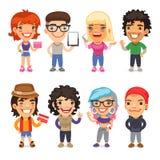 Trendy Dressed Cartoon Characters Stock Photos