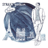 Trendy  dude.Paris street fashion.Watercolor ink Stock Images