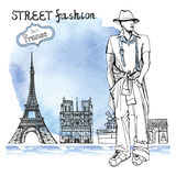 Trendy  dude on watercolor background.Paris street fashion Stock Photos