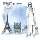 Trendy  dude.Watercolor background.Paris street fashion Royalty Free Stock Photography