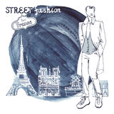 Trendy  dude.Watercolor ink stein.Paris street fashion Royalty Free Stock Images