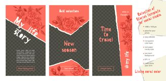 Free Trendy Easy Editable Template For Social Media Stories In Torn Paper Style. Roses Flower Theme Creative Design Background For Royalty Free Stock Image - 143985206