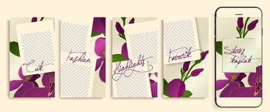 Trendy editable Instagram stories templates with floral pattern, vector illustration. vector illustration