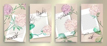 Trendy editable Instagram stories templates with floral pattern, vector illustration. Design backgrounds for social media stories vector illustration