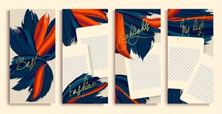 Trendy editable stories templates with blue and orange flowers, vector illustration. instagram highlight covers. Insta fashion vector illustration