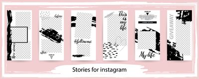 Free Trendy Editable Template For Social Networks Stories , Vector Il Royalty Free Stock Images - 129661139