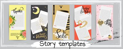 Trendy editable template for social networks stories, vector ill royalty free illustration