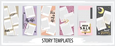Trendy editable template for social networks stories, vector illustration stock illustration