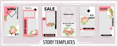Trendy editable template for social networks stories, vector ill stock illustration