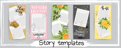 Trendy editable template for social networks stories, vector ill vector illustration