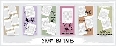 Trendy editable template for social networks stories, vector illustration royalty free illustration