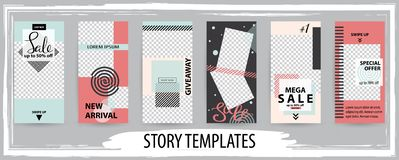 Trendy editable template for social networks stories, vector illustration vector illustration
