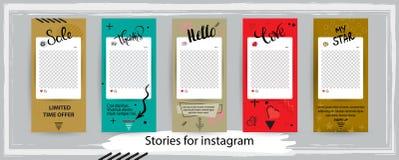 Trendy editable templates for instagram stories, vector illustration. stock illustration