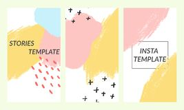 Trendy editable templates for social media stories. Memphis style. Design backgrounds for social media. Hand drawn vector illustration