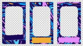 Trendy editable templates for social networks stories, instagram story, vector illustration set, frames. vector illustration
