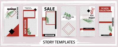Trendy editable winter template for social networks stories, vec stock illustration