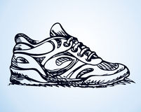 Trendy fancy sneakers. Vector sketch Royalty Free Stock Photo