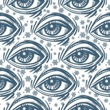 Trendy fashion all seeing eye seamless pattern. Royalty Free Stock Photos