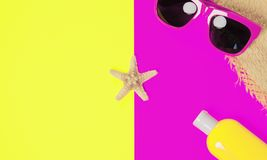 Trendy fashion beach accessories on a bright colorful background. Sunglasses, fragment of a straw hat, a bottle of sunscreen. Lotion, dried starfish and shells royalty free stock image