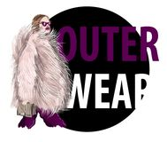 Trendy fashion girl  in pink fur coat with bag. Model with sunglasses and outerwear. Vector sketch illustration. Trendy fashion girl  in pink fur coat with bag Royalty Free Stock Photos