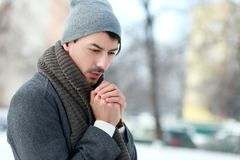 Man on winter park Royalty Free Stock Photography