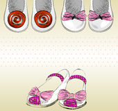 Shoes for little girls. Trendy fashion  shoes.  Fashionable Hand drawn illustration Royalty Free Stock Photo