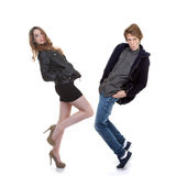 Trendy fashion teens. Posing or dancing Stock Image