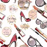 Trendy fashion vector wallpaper pattern with cosmetics,  shoes,. Lipstick, mascara and lipstick Stock Photos