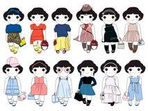 Trendy Fashion Wonder Girls Character Set illustration Royalty Free Stock Photography