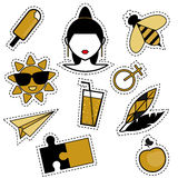 Trendy fashionable pins, patches, badges, stickers, flash tattoos in black and golden colors. Isolated design elements for woman and girls. Trendy style vector illustration