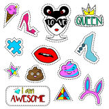 Trendy fashionable pins, patches, labels, stickers  on white.  Royalty Free Stock Photography