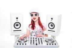 Trendy Female DJ Mixing Music Stock Photos