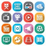 Trendy flat cinema and movie icons. Vector Stock Image