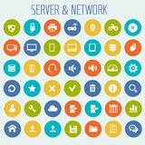 Big Computer Networks icon set. Trendy flat design big computer and server networks icons set Stock Photo