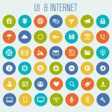 Big UI And Internet icon set. Trendy flat design big UI and Internet icons set on round buttons Stock Image