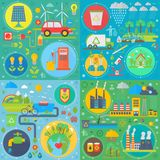 Trendy flat design ecology vector set of web icons. Ecological friendly, low zero emission. Modern green power plants. And energy producing stations vector illustration