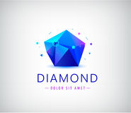 Trendy flat design facet crystal gem shape logo element. Stock Images
