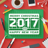 Trendy Flat Design Illustration: Research office workplace. Trendy Flat Design Illustration: Merry Christmas and 2017 Happy New Year workplace. Icons set of Stock Photography