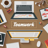 Trendy Flat Design Illustration: Teamwork. Office workplace. POV Icons set of business work flow items, elements and gadgets