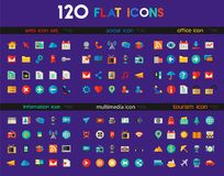 Ui and Multimedia big icon set. Trendy flat detailed multimedia, information, web and social colored icons on white background stock illustration